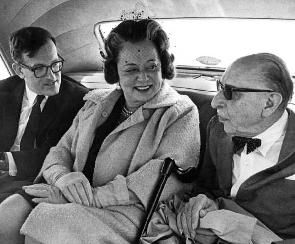 Robert Craft, Vera and Igor Stravinsky in the Rolls
